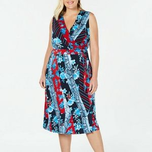 INC PLUS SIZE 0X XL PATCHWORK WRAP DRESS  SUMMER